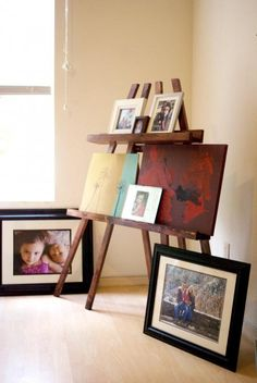Build a Pottery Barn inspired Floor-Standing Frame Easel Stand (which is no longer available). @Emily McCormick