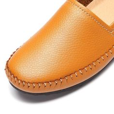 3bf4bbbb872a Pure Color Leather Soft Comfortable Slip On Stitching Flat Loafers. Gender FemaleFlat  ShoesTypes Of ShoesColor BlackAutumnSpring ...