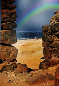 A rainbow viewed from old gold mine in Aruba.