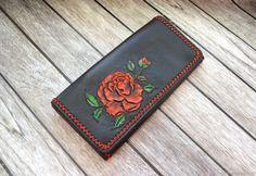 """Купить Кожаный  кошелек  """"Роза"""" - черный, натуральная кожа, кожаный кошелек, кошелек из кожи"""