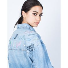 Girl Gang Denim Jacket (2.480 RUB) ❤ liked on Polyvore featuring outerwear, jackets, light blue denim, lightweight jackets, light blue jacket, collar jacket, blue jackets and embroidered jean jacket