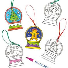 Christmas Snow Globe Suncatchers for Children to Decorate and Personalise (Pack of 6) *** You can get additional details at