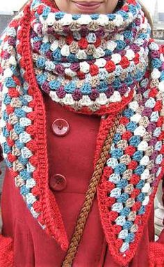 Simple Crochet Granny Shawl To Keep Warm In Cooler Days