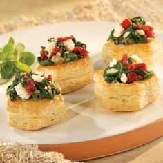 PUFF PASTRY APPETIZER CUPS--Spinach, Sun-Dried Tomatoes, Feta Cheese, Shallots, Garlic......YUMMM!!!