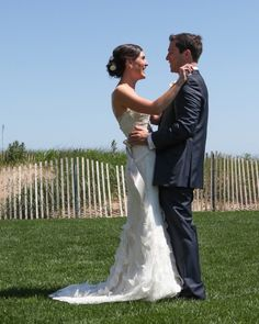 We love the sheer delight in this couple's first look