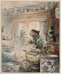 Helen Beatrix Potter - 'Where is My Twist?' (From Illustrations for 'The Tailor of Gloucester'), - Ink and watercolour on paper.my fave Beatrix Potter story Art And Illustration, Woodland Illustration, Beatrix Potter Illustrations, Book Illustrations, Beatrice Potter, Peter Rabbit And Friends, Gloucester, Cat Art, Illustrators
