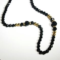Only $9.99! - SALE Black Round Faceted Multi Size Beaded Necklace w/Gold Metallic Beads & Gold Tone Glass Rhinestone Spacer Disks - Under $10 Gifts - FREE USA SHIPPING https://www.etsy.com/listing/397979813/sale-black-round-faceted-multi-size