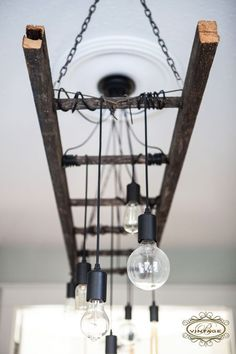 Love this rustic, industrial chandelier!                                                                                                                                                                                 More