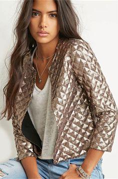 Sequined 3/4 Sleeve Jacket