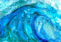 Alcohol Ink Print Waimea Wave  8x10 Limited by SendingAlohaStudio