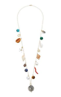 Made from a gleaming cast of diamonds, rubies, pearls and other brightly colored gemstones, Haute Victoire's necklace is one to covet. For a unique take on the classic charms, opt for pairing this with all your favorite plunging and v-necklines. Om Necklace, Shell Necklaces, Gemstone Colors, Jewelry Branding, 18k Gold, Turquoise Necklace, Shells, Fine Jewelry, Bling