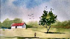 Watercolor Beginner, Watercolor Paintings For Beginners, Watercolor Art Lessons, Watercolor Landscape Paintings, Beginner Painting, Easy Watercolor, Watercolor Drawing, Trippy Painting, Drawings