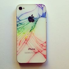 For a cracked iPhone case. Go over the cracks with coloured Sharpies and wipe off the extra with a damp paper towel as you go. Is it wrong that I want to smash my phone so I can do this?
