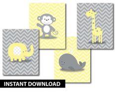 Chevron Monkey gelb grau Kinderzimmer Kunst - sofort-DOWNLOAD - Affe Giraffe Wal-Elefant-Satz von 4 Zigs Zags