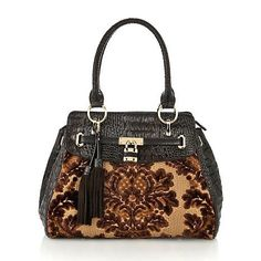 Sharif Studio Handbags Official Site | Sharif Tapestry and Croco-Embossed Leather Satchel