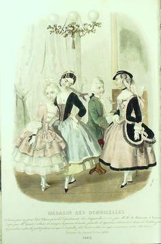 GRAVURE de MODE AUTHENTIQUE-X192-MAGASIN DEMOISELLES-ROBES D ENFANTS-1853