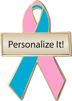 personalized and engravable pink and teal awareness ribbon pins for BRCA1, BRCA2, hereditary breast cancer, ovarian and breast cancer combined