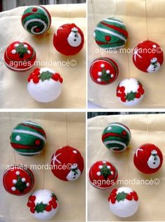 Ornements de Noël - Lot de 4 grosses  boules de Noël décoratives feutrées et uniques. Motifs incrustés par piquetage à l'aiguille de feutrage à sec. Elles sont très légè - 11154807 Felt Christmas Decorations, Felt Christmas Ornaments, Handmade Christmas, Needle Felted Ornaments, Felted Wool Crafts, Christmas Needle Felting, Felt Crafts, Christmas Crafts, Needle Felting Tutorials
