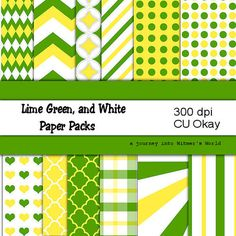 Yellow Green and White Digital Papers for by WitmersDigitalDesign, $3.00