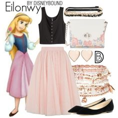 Eilonwy by leslieakay on Polyvore featuring H&M, Jimmy Choo, Candie's, Accessorize, Poppy Finch, Aéropostale, Ted Baker, disney, disneybound and disneycharacter