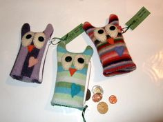 Owl coin purses by Ragbag. Recycled, boiled wool. Available at Gift of Art in London, Ontario, Canada.