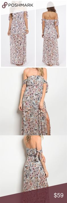 New Off-shoulder floral Maxi Dress Made in the USA  100% polyester Kallimari Dresses Maxi