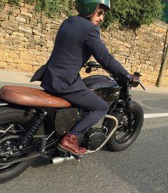 Triumph Bonneville Bobber by BAAK Motocyclettes, at Lyon's Distinguished Gentleman's Ride 2015. #Bobber #DGR #Triumph
