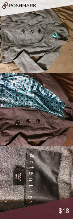 Grey pea coat Woman's size medium grey pea coat. Light wear. Attention brand. Bust measures 19 inches flat across and the length from the shoulder to bottom is 25 inches. attention Jackets & Coats Pea Coats