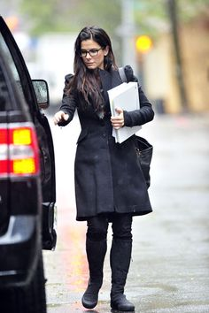 Sandra Bullock Wool Coat - Sandra bundles up in a sleek wool coat with pouf shoulders.
