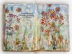 Visual diary, journal, mixed media pages. Bumblebees and Butterflies Visual Journey 2015 #20