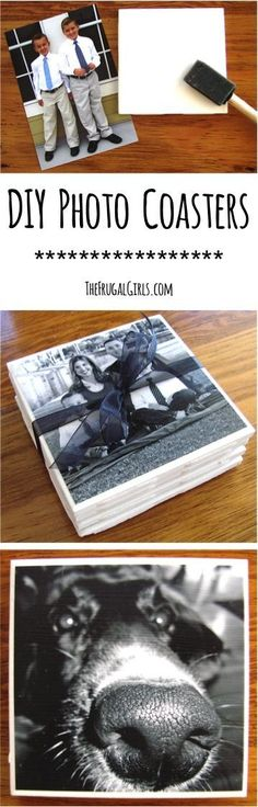 DIY Photo Coasters Tutorial from TheFrugalGirls.com