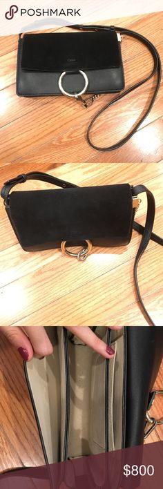 Chloe faye small black suede bag Very good condition. With card and dust bag Chloe Bags Crossbody Bags
