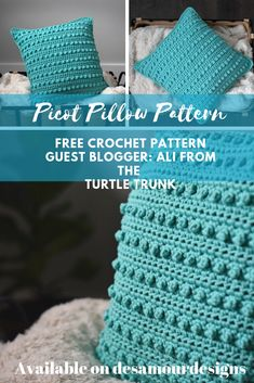 The Picot Pillow is a modern throw pillow that is simple to make but looks sophisticated in any room. The picot single crochet creates a fun texture that works up quickly and gives the design a bumpy… Crochet Pillow Patterns Free, Free Crochet, Knitting Patterns, Modern Crochet Patterns, Crochet Geek, Beginner Crochet, Easy Crochet, Crochet Home Decor, Crochet Crafts