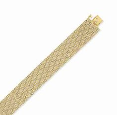 A DIAMOND AND GOLD PANTHÈRE BRACELET, BY CARTIER - Designed as a seven-row 18k gold link band, set with circular-cut diamonds, mounted in 18k gold, with French assay mark and maker's mark, 7 ins., in a Cartier red leather box Signed Cartier, no. 671294