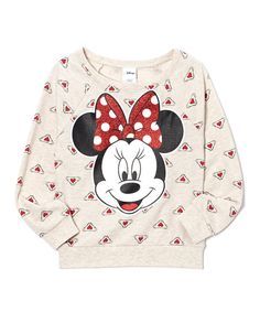 Look what I found on #zulily! Oatmeal Hearts Minnie Mouse Pullover - Girls by Minnie Mouse #zulilyfinds