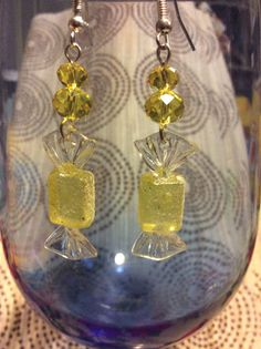 Yellow glitter candy holiday earrings with crystal beads with by Createdtreasures23 Great stocking stuffer! Secret Santa