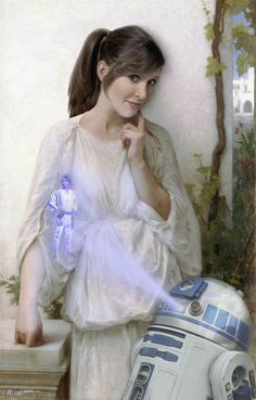 """Reverie Princess, by carlosnumbertwo.  """"Princess Leia in Reverie by Bouguereau. I love his paintings.""""  9th place entry in Star Wars Ren (Worth1000 Contests)"""