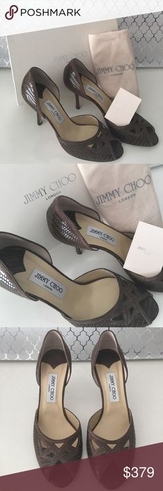 🆕JIMMY CHOO NEW COGNAC HEELS 💯AUTHENTIC JIMMY CHOO NEW WITH TAGS EMBOSSED LEATHER HEELS 100% AUTHENTIC. STUNNING AND STYLISH ALWAYS ON TREND! ONLY TRIED ON IN STORE ONCE. NEVER WORN OTHERWISE. TRULY BEAUTIFUL HIGH END LUXURY! COMES WITH BOX , CARE CARD, AND JIMMY CHOO FABRIC DUST BAG . AGAIN THE COLOR IS COGNAC WHICH I WILL LABEL AS BROWN. THE SIZE IS 39 WHICH IS AN AMERICAN 9. THE HEEL HEIGHT IS 3.75 INCHES Jimmy Choo Shoes Heels