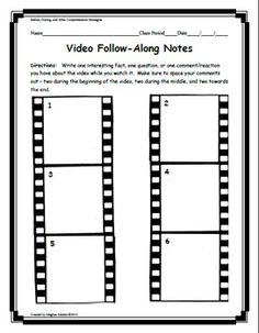 Movies, filmstrips, documentaries, and even YouTube clips can all be used in our classrooms with great results - if we can keep our students engage...