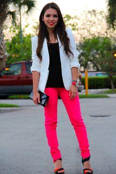 LOVE! Hot pink jeans   My Style   Pinterest   Black blazers ...