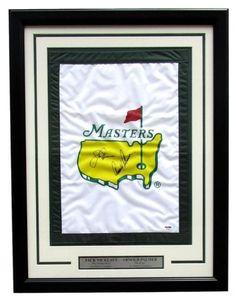 Arnold Palmer Jack Nicklaus Dual Signed Framed Masters Golf Flag PSA Hologram