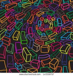 Seamless vector dark pattern with colored and curved rectangles