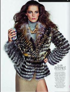 winter fur coat & statement huge gold chain - Michael Kors