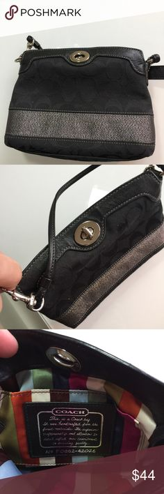 Coach high capacity wristlet 42026 Black signature with sparkle stripe  Has bags tags  cute striped satin lined  Authentic  7.5 x 5 x 2 Coach Bags Clutches & Wristlets