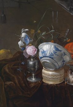 Jan Davidsz. de Heem (Utrecht 1606–1683/84 Antwerp) Still life with flowers, a fish, a boiled lobster, and a faience bowl, signed at upper left: J. D D Heem f., oil on panel, 46 x 63 cm, framed (detail)