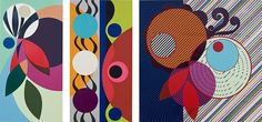 BEATRIZ MILHAZES Pimeta Vermelha (Red Pepper), 2009 Triptych: woodblock and screenprint 31.5 x 15.75 inches, 31.5 x 15.75 inches, 31.5 x 31.5 inches edition of 40