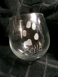 Pet Paw Print Stemless Wine Glasses SET by Kitty Piston