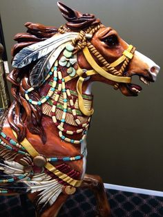 """Scary to children? Close-up of """"Hidalgo"""" carousel carving by Ken Means. Carrousel, All The Pretty Horses, Beautiful Horses, Carosel Horse, Wooden Horse, Painted Pony, Merry Go Round, Equine Art, Horse Love"""