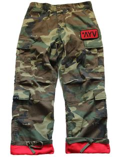 """PREMIUM QUALITY  SUPER SOFT & DURABLE WASHED COTTON BLEND TWILL 8 POCKETS ZIPPER FLY TWO 2'' ADJUSTABLE WAIST TABS DRAWSTRING BOTTOMS REINFORCED SEAT & KNEES CAMO w/ RED FLIP AT THE BOTTOM OF THE PANT LEG RED/BLACK """"AYV"""" PATCH  WWW.THEAYVSTORE.COM"""