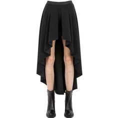ESGIVIEN Techno Stretch High Low Skirt ($198) ❤ liked on Polyvore featuring skirts, bottoms, black, black skirt, hi low skirt, panel skirt, black elastic waist skirt y high-low skirt